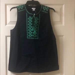 J Crew Navy and Green Top, size 6